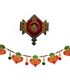 Buy Combo of Colorful Bandarwal Door Hanging and Lord Ganesha Jewelled Wall Hanging wall-art online