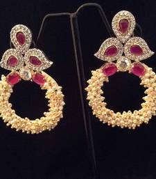 Designer rani pink chandni pearl bali hoop with AD work & stones India earring shop online