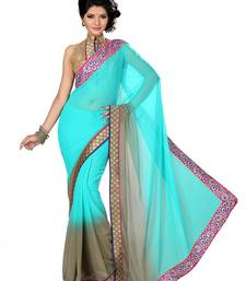 Buy Off White Color Faux Chiffon Saree With Blouse party-wear-saree online
