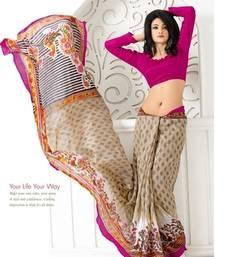 Buy Multi Colour Printed  Art Silk Saree With Blouse art-silk-saree online