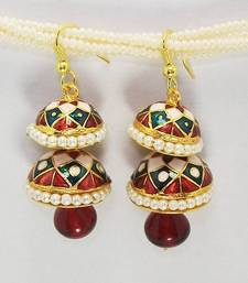 Buy Meenakari Double Step Earring Maroon Blues danglers-drop online