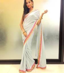 Buy Steel grey crepe saree crepe-saree online