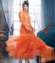 Buy Mugdha Godse IN Designer Orange Jacket Style Anarkali Suit indian-dress online