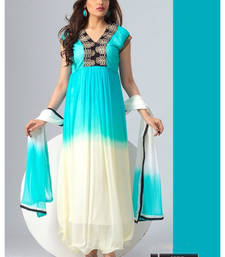 New Designer Off White And Sky Blue Anarkali Suit shop online