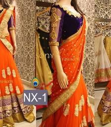 Buy Orange embroidered net semi stitched lehenga choli bollywood-lehenga online