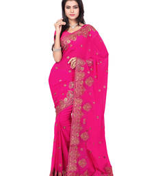 Buy Rani Pink Color Faux Georgette Saree With Blouse below-1500 online