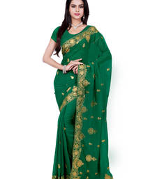 Buy Dark Green Color Faux Georgette Saree With Blouse party-wear-saree online