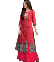 Buy Red embroidered chanderi long-kurtis long-kurti online