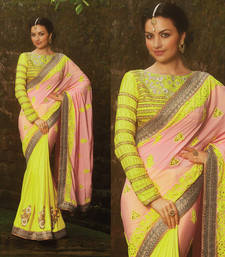 Buy Neon green Peach Barfi Silk Natural Crepe Saree bridal-saree online