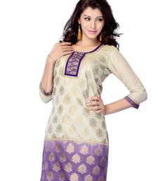 Buy Beige printed jacquard long-kurtis long-kurti online