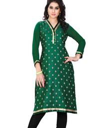 Buy Dark green printed jacquard long-kurtis long-kurti online