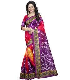 Buy Purple printed bhagalpuri silk saree with blouse bhagalpuri-silk-saree online