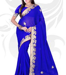 Buy Blue Chiffon Embroidered Saree With Blouse party-wear-saree online