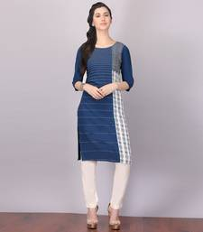 Buy Aurelia Blue Straight Rayon stitched kurti party-wear-kurti online