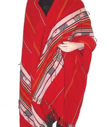 Hand-Woven Shawl from Nagaland-Red, white and Blue weaving shop online