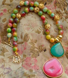 Buy Apple-colored Agate & Gold Necklace Necklace online