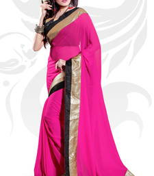 Buy Magenta Faux Georgette Embroidered Saree With Blouse party-wear-saree online