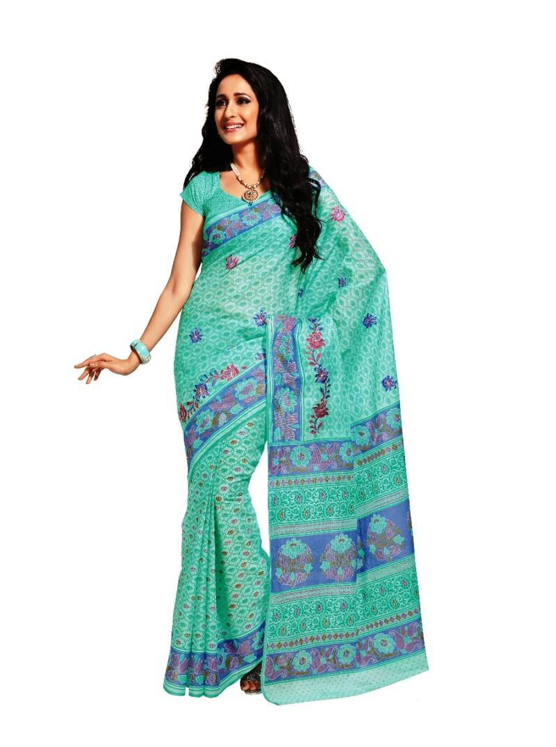 Buy Sea Green Embroidered Cotton Casual Wear Saree With Blouse Online