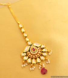 Buy Beautiful Kundan Ruby Maang Tikka maang-tikka online