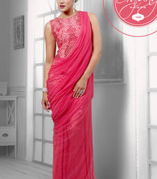 Buy Pink Net Gown with Elegant Embroidery Patch Work party-wear-gown online