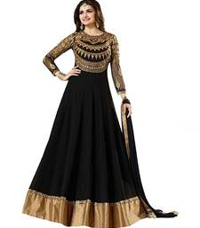 Buy Black embroidered georgette salwar semi-stitched-salwar-suit online