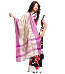 Buy Lilac and Vanilla Brown Chequered Soft Pashmina shawl shawl online