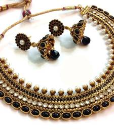Buy Grand Black Pearl Polki Necklace set Set necklace-set online