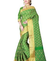 Buy Green woven linen saree with blouse linen-saree online
