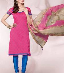 Buy Pink Embroidered  Dress material dress-material online