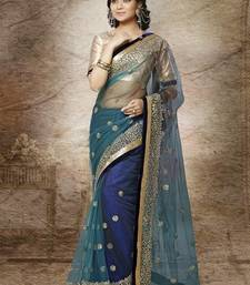 Buy Copers Blue Net With Gold Secquence Work Sarees With Blose party-wear-saree online