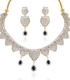 Buy Heena Contemporary collection Blue stone Necklace set >> HJNL139BL << party-jewellery online