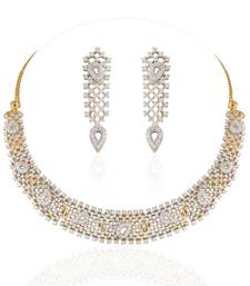 Buy Heena Classic Collection full white Necklace Set >> HJNL126W << party-jewellery online