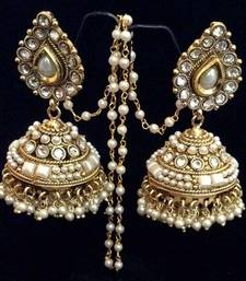 Buy Bridal Bollywood Pearl Kundan Big Teardrop Jhumka India traditional Earrings jhumka online