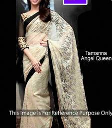 Buy fancy offwhite saree cord & zari work Net brasso fabric bollywood tamanna bhatia wihblouse piece saree tamanna-bhatia-saree online