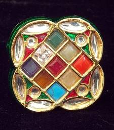 Buy Navratan Stone And Kundan Ring, Adjustable Ring online