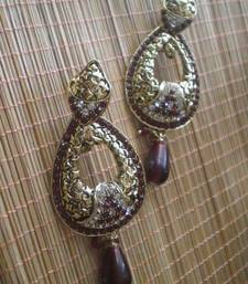 Buy Maroon Golden Earrings-05084 danglers-drop online