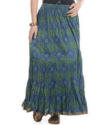 Buy Blue Bandhej Printed Cotton Long Skirt skirt online