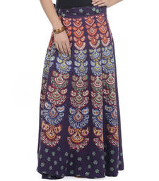 Buy Purple Cotton Printed Wrap Around Long Skirt navratri-skirt online