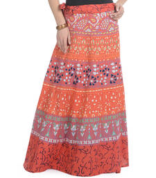 Buy Orange Cotton Printed Wrap Around Long Skirt navratri-skirt online