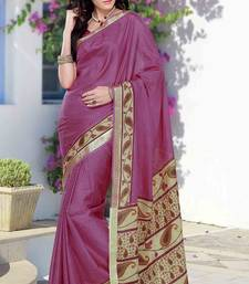 Buy Pink silk printed saree in multi colour printed pallu & border crepe-saree online