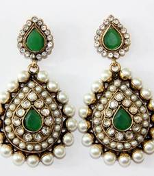 Buy ANTIQUE GOLDEN AD GREEN N WHITE PEARLS HANGINGS danglers-drop online