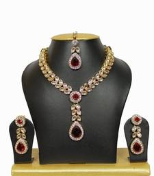 Buy Nityanavi Kundan Necklace Set in Maroon necklace-set online