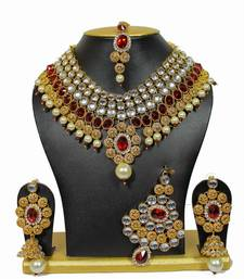 One-Of-Its-Kind Necklace Set with Pearls in Maroon shop online
