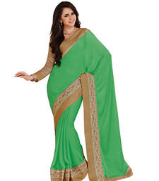Buy Green Colour chiffon Fabric With Blouse of dupion_silk embroidered Work Saree satin-saree online