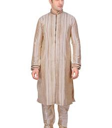 Buy Men's fawn front open kurta with cording and pleating all over with gundi buttons pakistani sherwani style kurta-pajama online
