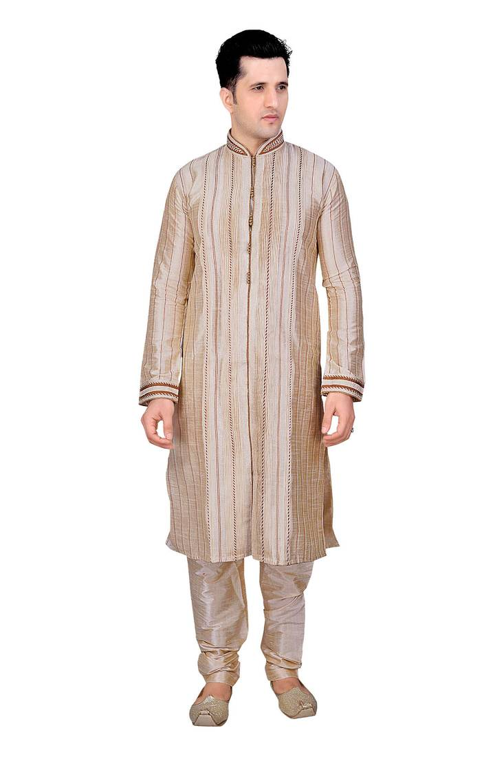 Buy Men 39 S Fawn Front Open Kurta With Cording And Pleating