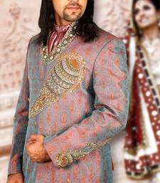 Buy salmon brocade embroidered sherwani rajasthani-sherwani online