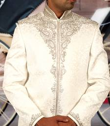 Buy white ghiecha tanchhoi embroidered sherwani gifts-for-dad online