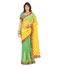 Buy YELLOW & GREEN COLOR THREAD & ZARI  WORK NET JACQUARD & chiffon FABRIC WITH BLOUSE dupion-saree online