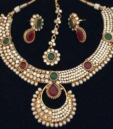 Buy Dazzling polki with festive stonework India maroon green pearl necklace set necklace-set online
